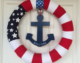 Flag Inspired Patriotic Wreath With Anchor