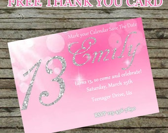 Pink Birthday Invitation DIY Custom