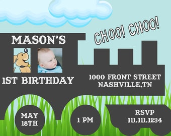 Little Boy Train Birthday Invitation