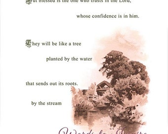 Blessed is the one who trusts in the Lord (Jeremiah 17: 7-8). Printable Bible Scripture Illustration - digital PDF file.