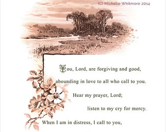 You, Lord, are forgiving and good  (Psalm 86: 5-7). Printed Bible Scripture Illustration - digital PDF file.