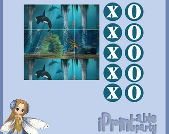 Sea Princess Printable Tic Tac Toe Game