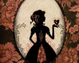 "Tirage - poster - décoration - victorien - silhouette - ombre chinoise - Miss Shadow - ""New Love"""