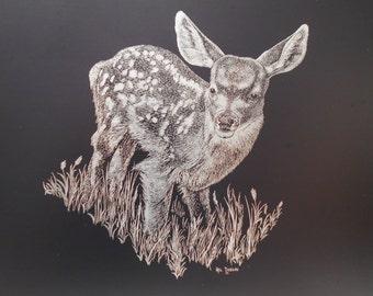 "Etching of an original Mel Dobson scratchboard drawing ""Fawn"" - [#7 - HC ]"
