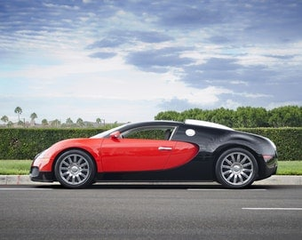 Bugatti Veyron Left Side Red & Black HD Poster Super Car Print