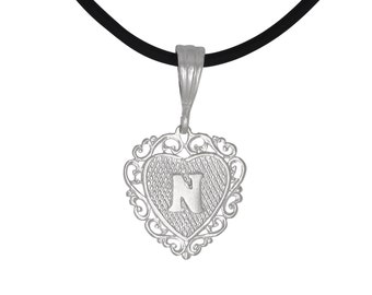 """Sterling Silver .925 """"N"""" Initial Heart Shaped Pendant 