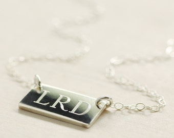 Custom Initals Necklace - Sterling Silver Bar Necklace - Custom Engraved Necklace