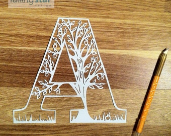 A is for Apple Tree Papercutting Template
