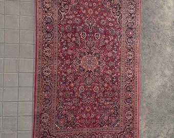 Vintage Kashan Wool Carpet
