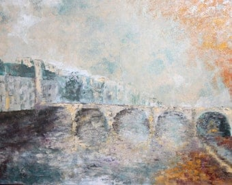 European art 1980  oil painting landscape signed