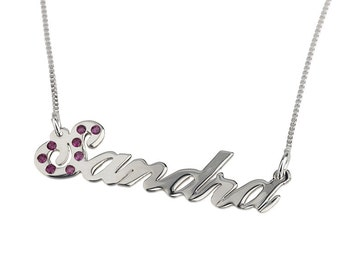 Personalized Name Necklace Sterling Silver With Birthstone Any Name - Carrie Style