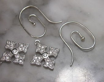 Earrings Mix & Match Lily Cross Maltese Swarovski 925 Briiliant Gold