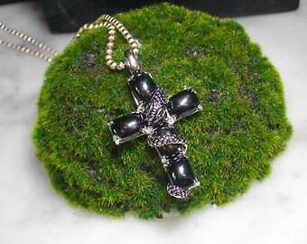 Charm Cross Pendant Swarovski Onyx Lily snake ring