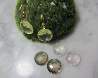 TOM K Earrings smoky quartz lemon quartz Rosequarz Gold workmanship goldsmith luxury Pandora