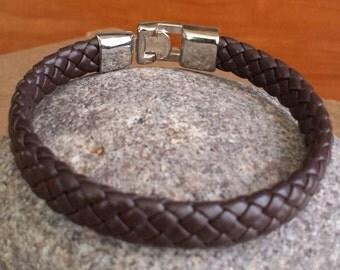 FREE SHIPPING-Men's Bracelet,Men's Leather Bracelet,Brown Leather Bracelet,Men's Cuff Bracelet, Thick Leather Bracelet,Stainless Steel Clasp
