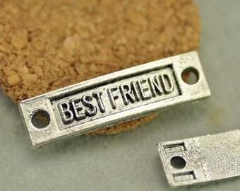 """10pcs Antique silver """"Best Friend"""" Link connector Letter plate(#3010086)"""