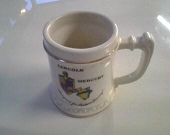 Vintage Porcelain 1953 Lincoln Mercury Beer Stein Mug