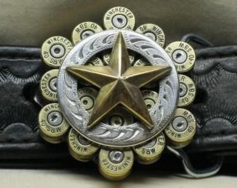 Bullet Belt Buckle 40 S&W Brass 40 Cal with Texas Star