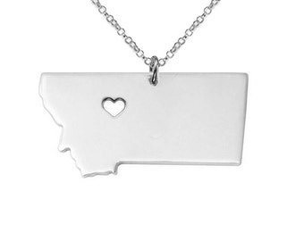 MT State Necklace,Montana State Necklace, Montana State Charm Necklace, State Shaped Necklace Custom Necklace With A Heart-%100 Handmade