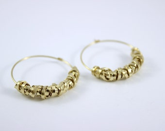 Gold Hoop Earrings, 14K Yellow Gold Filled Earrings, Evening Jewelry, Anniversary Gift, Lady Birthday Gift, Gift to Her
