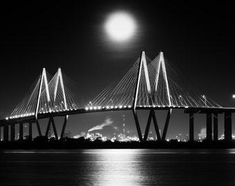 Moonset over Fred Hartman Bridge, Baytown, Texas