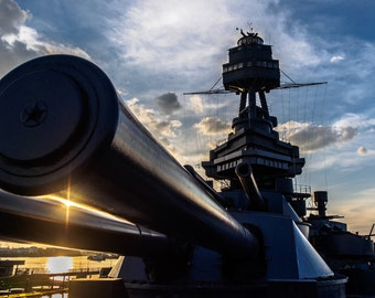 Battleship Texas, morning sun