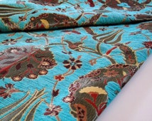 Chenille Upholstery Fabric, Velvet Fabric, Oriental Style, Floral, Fabric with Tulip & Clove Pattern, Turquoise, Half Yard/Meter
