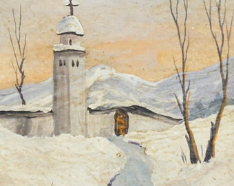 Vintage impressionist winter landscape oil painting