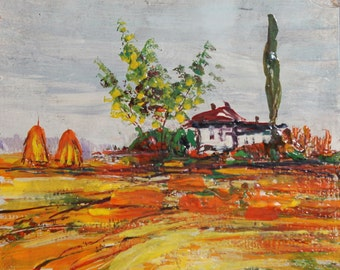 Vintage impressionist landscape field house oil painting