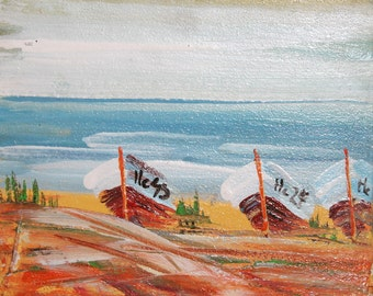 1977 expressionist landscape seascape boats oil painting