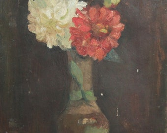 Antique oil painting still life flowers