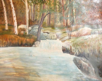 Vintage impressionist oil painting river forest landscape