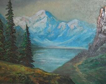 Vintage European oil painting impressionism mountain landscape