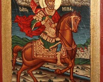 Saint Menas Hand Painted Tempera/Wood Icon