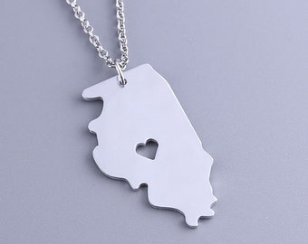 I heart Illinois Necklace - Illinois Pendant - State Charm - Map necklace - Map Jewelry