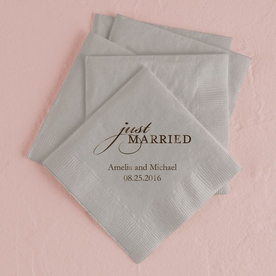 Set Of 100 Wedding Napkins Paper Napkin Just Married
