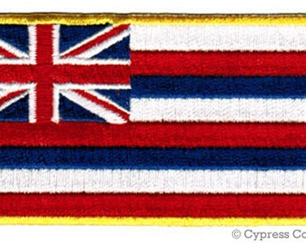 HAWAII Current STATE Flag PATCH iron-on embroidered applique Top Quality