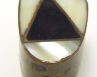 Old vintage pill box brass mother o f pearl inlayed trinket box
