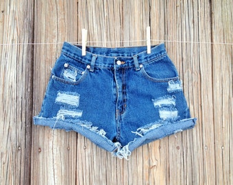 Ripped High Waisted Demin Shorts