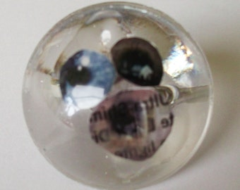 Resin dome ring - eyes theme with text elements