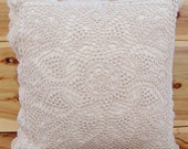 Hand Crochet Lace Cushion Cover Throw Pillow Cover Table Centre Piece Hand Made Pure Cotton