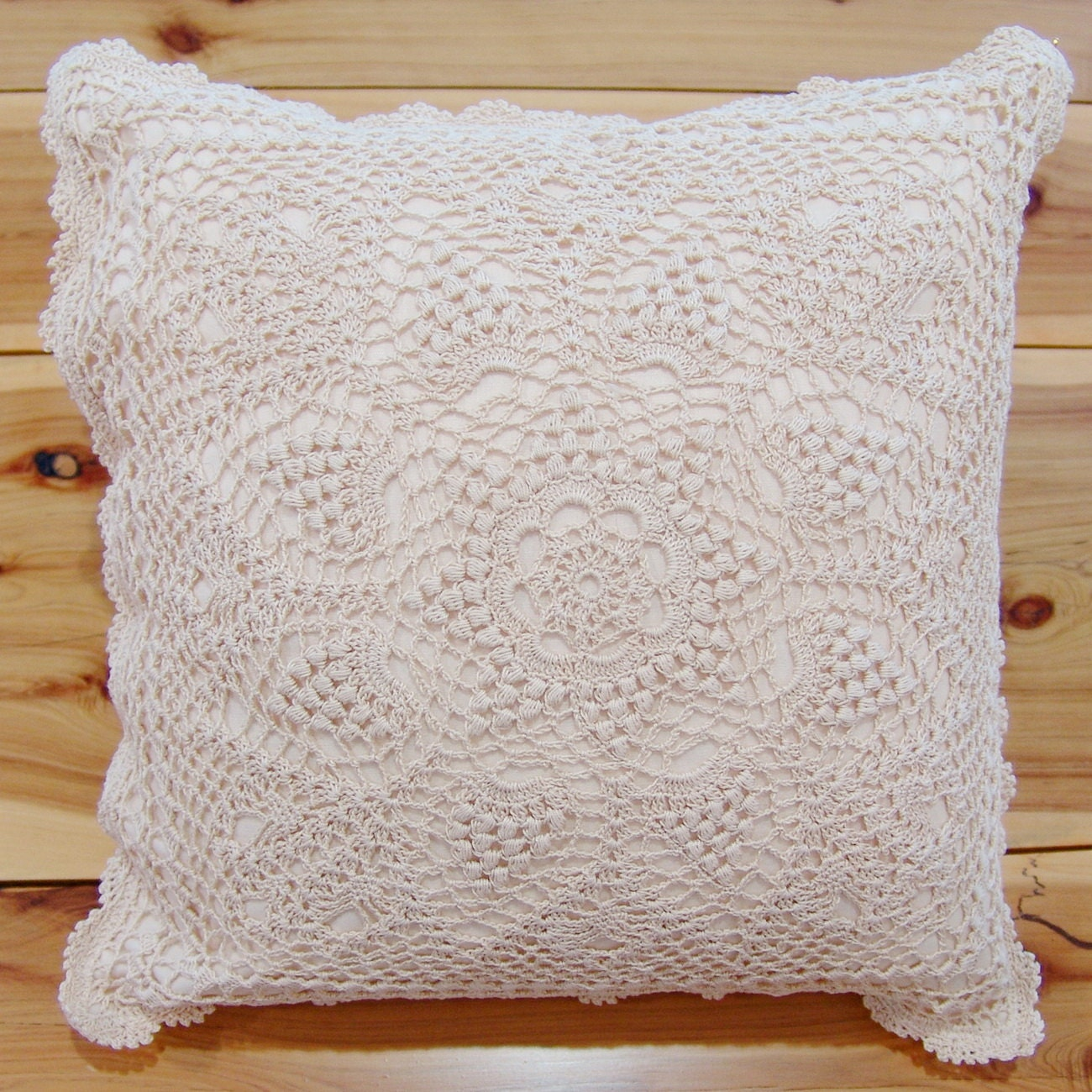 How To Make Throw Pillow Covers By Hand : Hand Crochet Lace Cushion Cover Throw Pillow Cover Table