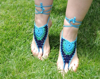Two Colour Crochet Barefoot Sandals