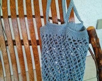 Crocheted Market Bag in Blue