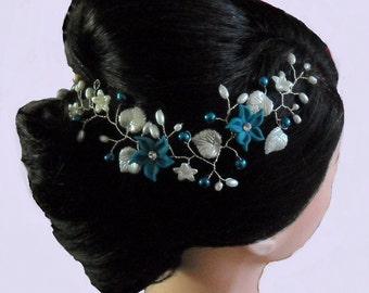 Teal Jasmine and Ivory Leaf Hair Vine