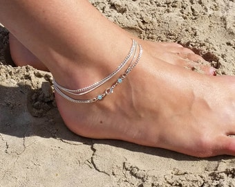 Double wrap anklet silver plated with light blue accent beach look
