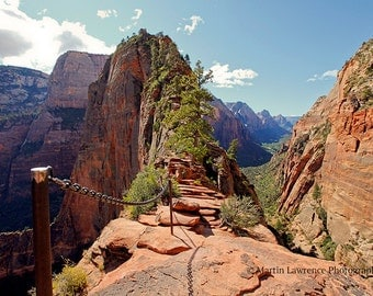 The Step of Faith, Angels Landing, Zion National Park, Utah  - Mounted Photographic Print of the USA