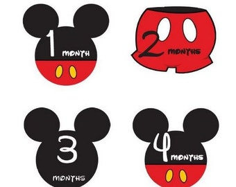 Monthly Stickers Monthly Baby Boy Mickey Mouse Monthly Stickers Waterproof Baby Shower Gift