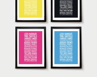 STAGEOGRAPHY. Le Tour de France 2014 commemorative Bike print/Bike poster • modern • cool  • typographic •bold • graphic