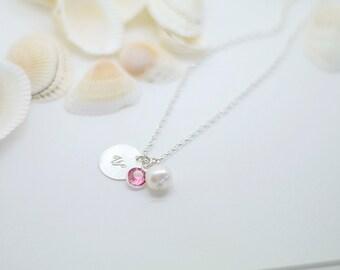 Birth stone necklace - Sterling silver necklace - Bridesmaid necklace - Bridesmaid gift